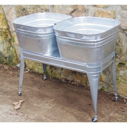 Square Wash Tub With Stand Single Or Double In 2020 Galvanized Wash Tub Metal Wash Tub Wash Tubs