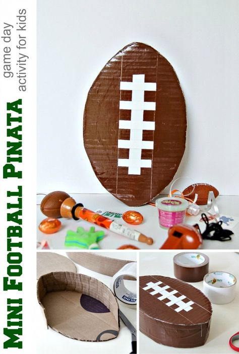 DIY mini football piñata: a great Game Day activity for kids that is sure to keep them occupied while you cheer on your favorite team!