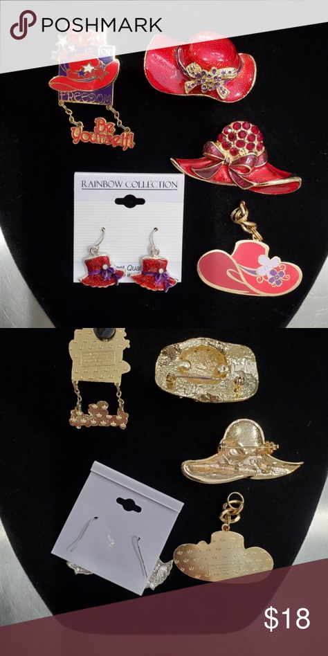 Red Hat Society 2 Rhinestone Hat Brooches July 4th Red Hat Society 2 Rhinestone Hat Brooches July 4th Brooch, Charm Earrings Red Hat Society 2 Rhinestone Hat Brooches July 4th Brooch, Charm Earrings Brooch #1 - Hat with red rhinestones - 2.5