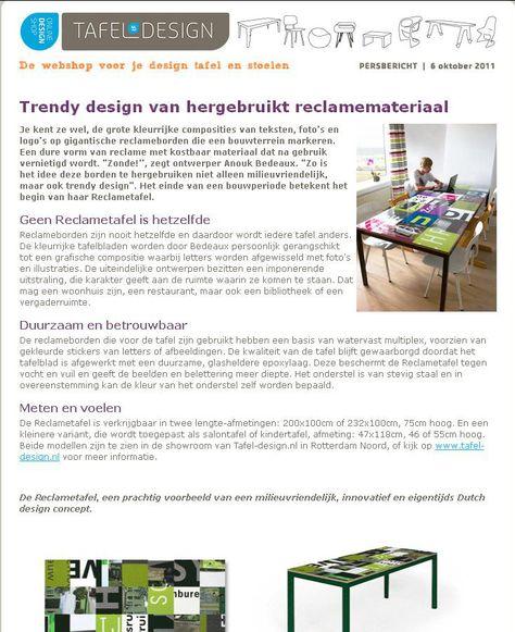 Grote Tafel Met 6 Stoelen.Trendy Design Van Hergebruikt Reclamemateriaal Tafel Design