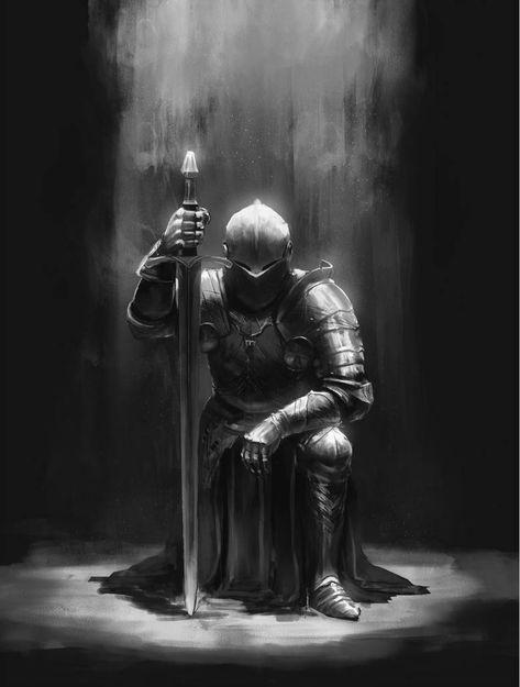 Commission - Knight by on DeviantArt Commission - Knight by on DeviantArt<br> Fantasy Kunst, Dark Fantasy Art, Dark Art, Medieval Knight, Medieval Fantasy, Templar Knight Tattoo, Arte Dark Souls, Warrior Tattoos, Angel Warrior Tattoo