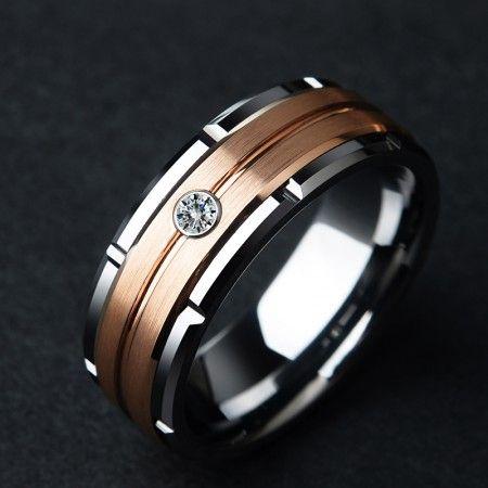 Rose Gold Tungsten Zircon Ring Men S Tungsten Wedding Band In