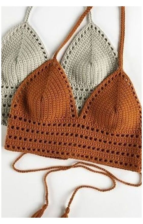 Crochet Halter Tops, Motif Bikini Crochet, Crochet Bra, Crochet Summer Tops, Crochet Clothes, Crochet Top Outfit, Crochet Crop Top, Crochet Outfits, Crochet Shorts