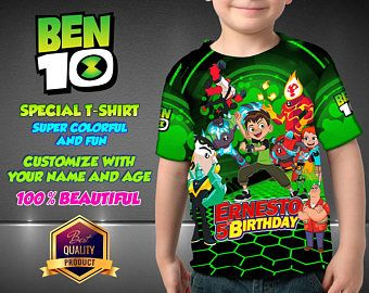 New Ben 10 Custom Personalized Birthday Party Favor Gift T-Shirt NEW