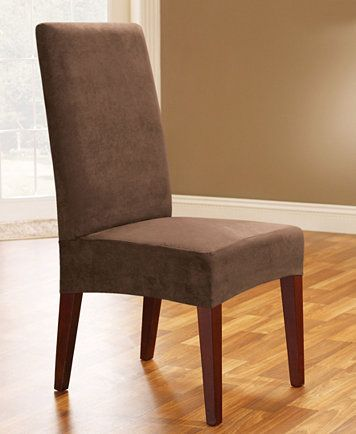 Image 3 Of Sure Fit Soft Faux Suede Short Dining Room Chair Slipcover