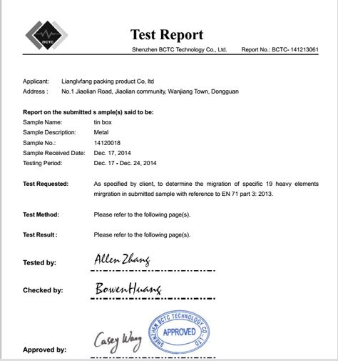 FDA food grade test report Food Grade Report Of Tin Box - country of origin letter