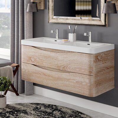 Trent Austin Design Blondene Modern 48 Double Bathroom Vanity Set Base Finish White In 2020 Floating Bathroom Vanities Double Vanity Bathroom Modern Bathroom Vanity