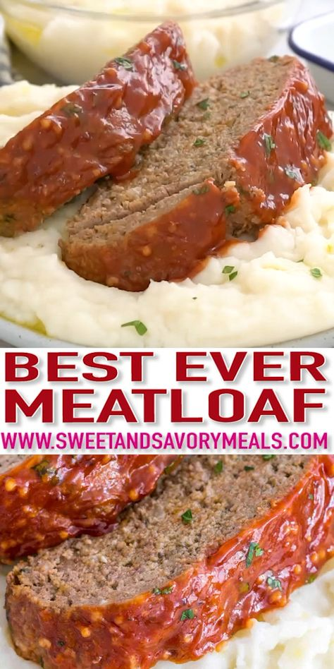Meatloaf Recipe that is flavorful and juicy on the inside, with a delicious glaze spread on the outside. It is the ultimate comfort food to enjoy!