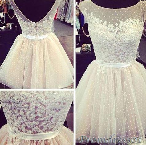 #promdress01 prom dresses - 2015 cute round neck open back white tulle mini bridesmaid dress,short prom dress for teens, occasion dress #prom2k15 #promdress -> www.promdress01.c... #coniefox #2016prom