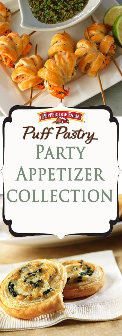 Pepperidge Farm Puff Pastry Party Appetizer Recipe Collection. This list of our favorite appetizers is full of great ideas and inspiration for your next party. Perfect when friends and family gather for the holidays or to ring in the new year. Find tons of appetizers, starters and snacks to have you celebrating all night long.
