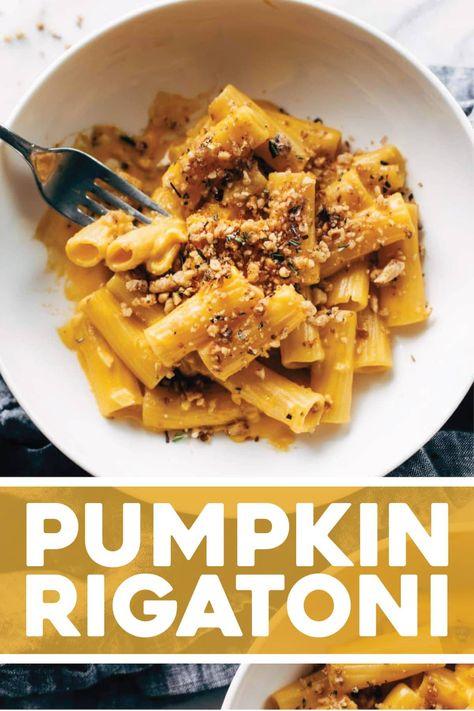 Pumpkin Rigatoni with Rosemary Walnut Crispies! Silky, creamy, savory pumpkin-sauce-bathed rigatoni sprinkled with rosemary walnut crispies. The BEST. #pasta #pumpkin #fallrecipe | pinchofyum.com
