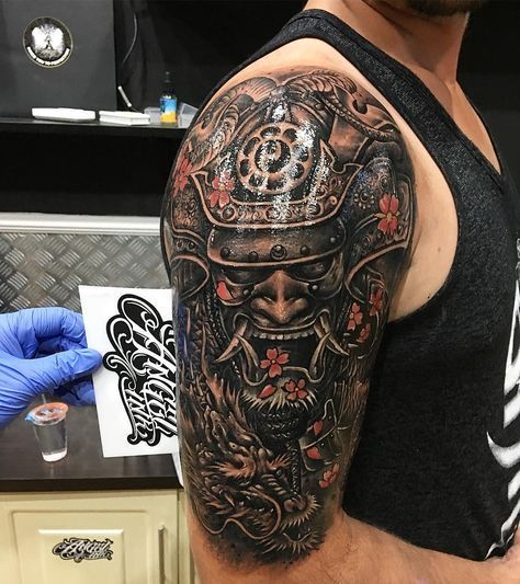40 Redoubtable Japanese Mask Tattoos Designs And Ideas Japanese Mask Tattoo Japanese Tattoo Designs Oni Mask Tattoo
