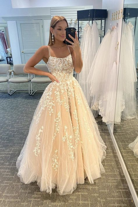 Stylish tulle lace long prom dress A line evening dress