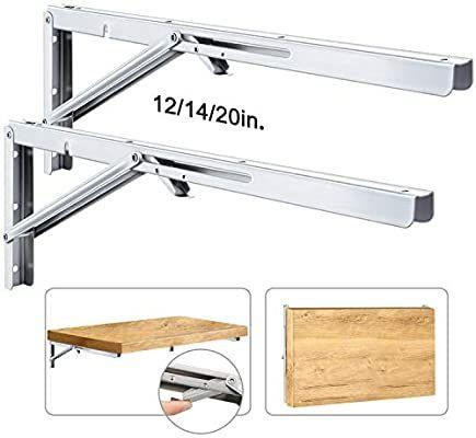 Amazon Com Folding Shelf Brackets Stainless Steel Fold Down Table Brackets 2 Pcs Folding Shelf Bracket Floating Shelf Brackets Shelf Brackets Stainless Steel