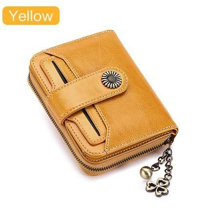 Vintage, Patented Brand, Genuine Leather, Luxury Unique Women's Wallet - Yellow