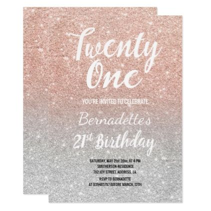 Faux Rose Gold Glitter Ombre Silver 21st Birthday Card