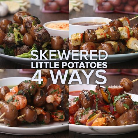 Ditch those boring, large potatoes and try these recipes for Skewered Little Potatoes made 4 ways! For more no-fuss, easy weeknight meals, visit littlepotatoes.com/recipes.