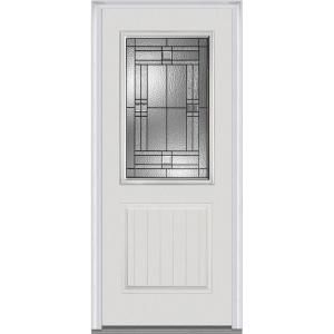 Mmi Door 37 5 In X 81 75 In Roman Decorative Glass 1 2 Lite 1 Panel Planked Primed Fiberglass Smooth Exterior Door Z021424l Th Mmi Door Front Door Paneling