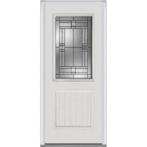 Mmi Door 37 5 In X 81 75 In Roman Decorative Glass 1 2 Lite 1 Panel Planked Primed Fiberglass Smooth Exterior Door Z021424l Th Mmi Door Front Door Paneling