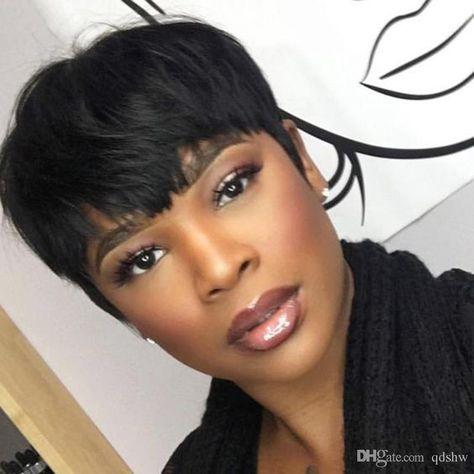 Cheap Short Pixie Cut Wigs For Black Women None Lace Front Wig Brazilian Hair Glueless Pixie Short Bob Human Hair Wig