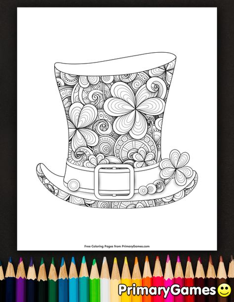 Leprechaun Top Hat Coloring Page Free Printable Ebook In 2020