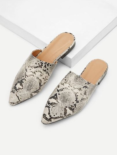 006b11a97 Shop Snakeskin Pattern Point Toe Mule Flats online. SheIn offers Snakeskin  Pattern Point Toe Mule Flats & more to fit your fashionable needs.