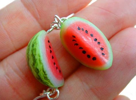 tall ●Fimo clay ●acrylic paint on the rind Find them here -->[link] Watermelon Earrings