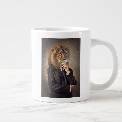 Portrait Of A Lion Giant Coffee Mug Zazzle Com Extra Large Coffee Mugs Large Coffee Mugs Mugs