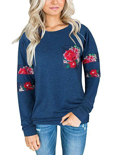 Aitos Oberteile Tops Frauen Langarmshirt Blumenmuster Rose