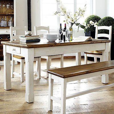 Esstisch Bodde Landhaus Tisch 180x90 Kiefer Massiv Weiss Honig