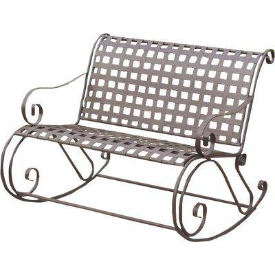 Nocona Scroll Double Patio Rocking Bench Color Matte Brown Rocking Bench Wicker Rocking Chair Teak Rocking Chair