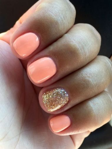 16 Short Round Acrylic Nails Fall Sparkle 32 Manicure Nail Designs Summer Nails Colors Summer Gel Nails