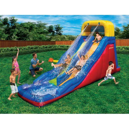 18/' Inflatable Water Slide Double Pool Kids Splash Sprayer Park Play Fun Outdoor