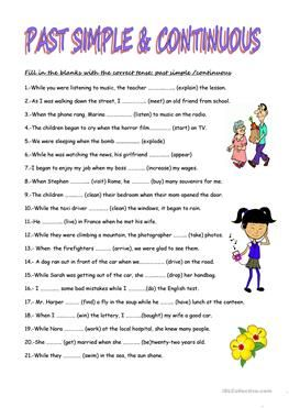 Past Simple And Past Continuous Tenses Past Tense Worksheet English Grammar For Kids Simple Past Tense