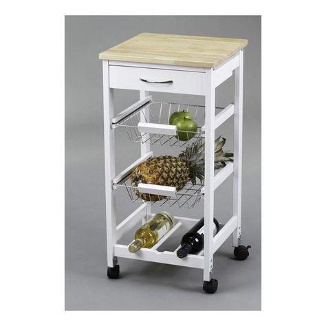 Kit Closet Carrello Da Cucina Con Ceste Portabottiglie Legno Nel
