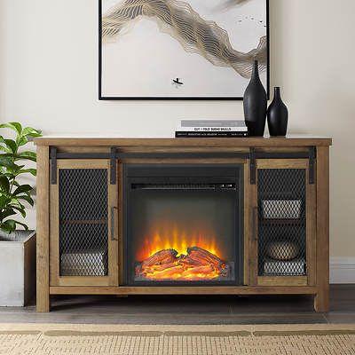 W Trends Farmhouse 48 Sliding Door Fireplace Tv Stand Dark