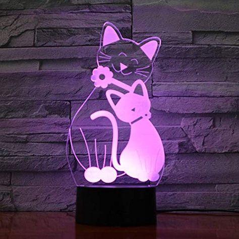 Kangyd Nette Katze Led Lampe Atmospharenlicht 3d Nachtlicht Stimmungslampe Kinder Geschenk Touch 7 Farbe Schwarzer Sockeldekor Geschenk Led Lampe Nachtlicht Und Beleuchtung