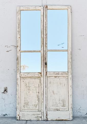 Pair Of 12 Lite Washed Wood French Doors In 2020 Wood French Doors French Doors French Doors Patio