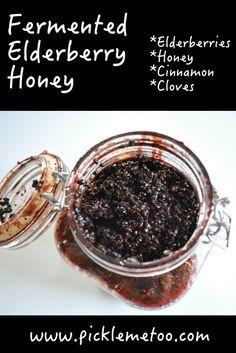 Fermented Elderberry Honey. Great for adding to yogurt, water kefir, or…