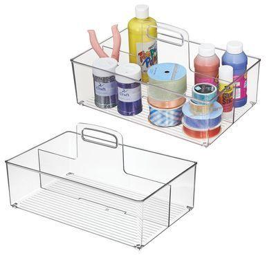 Mdesign Large Plastic Caddy Tote Zum Basteln Und Nähen Aufbewahren 2s 14 X 9 X 77 2er Pack D Sewing Storage Craft Storage Organization Card Making Supplies
