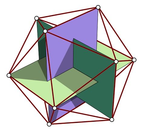 Sacred Geometry. The points of an Icosahedron (one of the 5 Platonic Solids) an be made by intersecting 3 Golden rectangles (based on the proportion Phi - 1:1.618 - the Golden Ratio). An icosahedron has 20 triangular faces, 30 edges and 12 vertices.