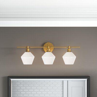 Waverly 3 Light Vanity Light Finish Brass Shade Color Frosted Modern Bathroom Light Fixtures Contemporary Bathroom Lighting Modern Bathroom Vanity Lighting