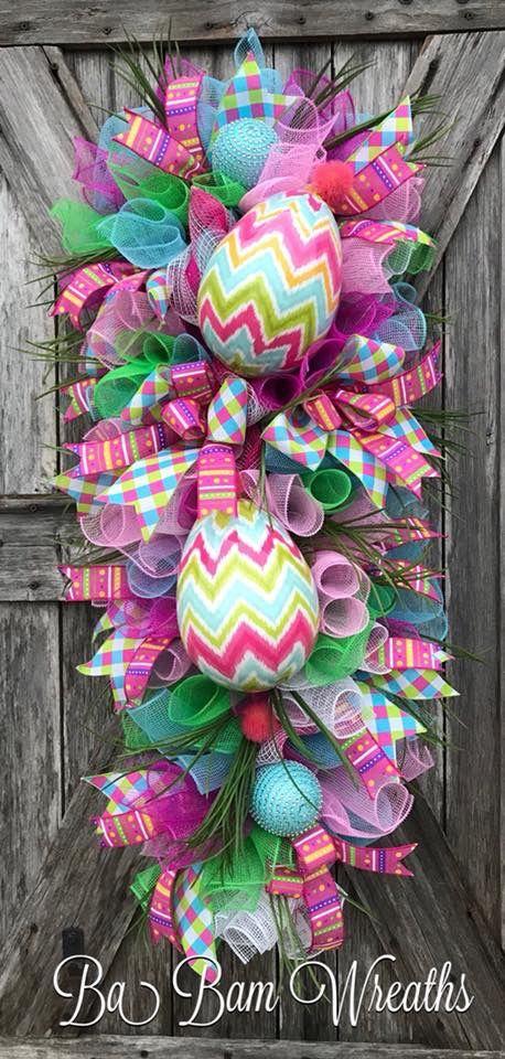 Easter Door Decor Easter Door Swag Bunny Teardrop Swag Spring Teardrop Swag XL Spring Door Swag Easter Swag Easter Bunny Wreath