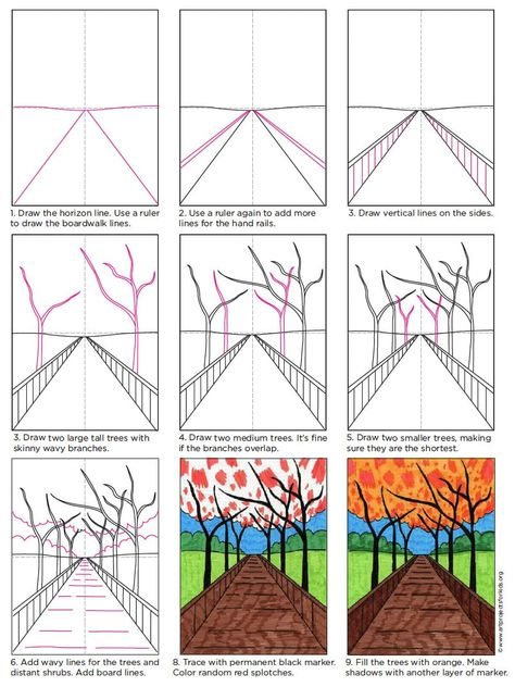 Perspective drawing for beginners is easiest with just one vanishing point. These trees lining a boardwalk make for a landscape with a sense of space. for kids Perspective Drawing for Beginners · Art Projects for Kids Art Drawings For Kids, Easy Drawings, Art For Kids, Children Drawing, Drawing Lessons For Kids, Space Drawings, Art Drawings Sketches Simple, Art Project For Kids, Color Art Lessons