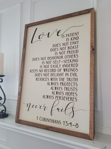 20x28 Framed Sign 1 Corinthians 13 Love Is Patient Love Is Kind Love Never Fails Love Is Patient Corinthians 13 Love Wall Art