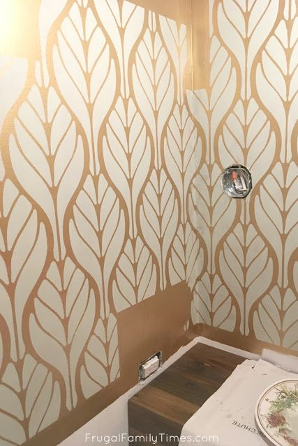 Metallic Gold And Soft Green Walls A Diy Paint Alternative To Pricey Wallpaper Metallic Gold Wall Paint Metallic Paint Walls Gold Painted Walls