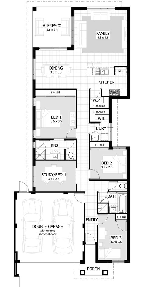 Narrow Lot Single Storey Homes Perth With Images Single Storey House Plans 4 Bedroom House Plans House Plans Australia