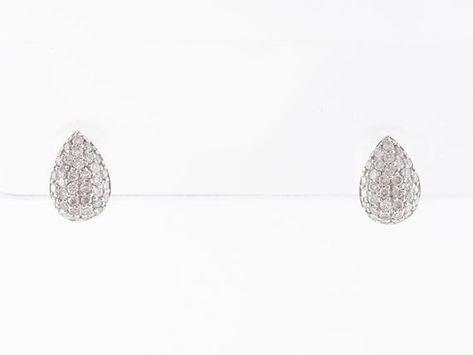 Pave Diamond Cluster Earrings in 18k White Gold