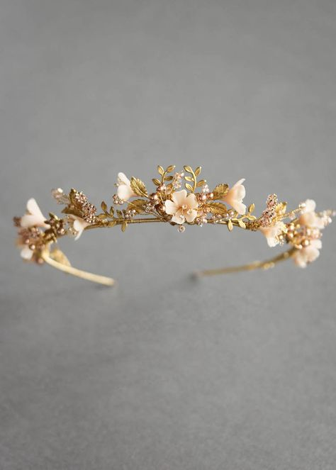 Wild Flowers_gold and blush floral wedding crown 6 accessories bling Wild Flowers Wedding Hair Accessories, Wedding Jewelry, Jewelry Accessories, Headpiece Wedding, Wedding Veils, Wedding Crowns, Bridal Headpieces, Floral Headpiece, Bridal Tiara