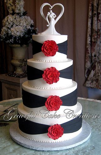Elegant White and Black Wedding Cake with Red Roses | Black ...